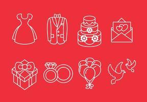 Icônes de ligne de mariage vecteur