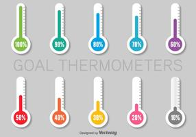 Ensemble de thermomètres en papier colorés Infographics vecteur