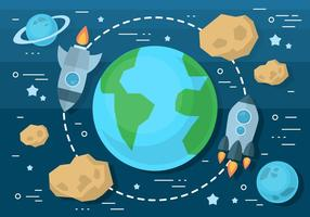 Illustration vectorielle gratuite d'espace plat avec navire spatial vecteur