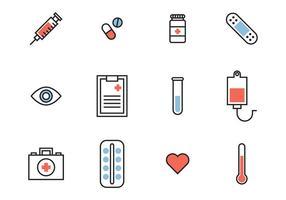 Icônes médicales colorées vecteur
