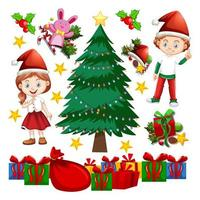 enfants et éléments d'arbre de Noël