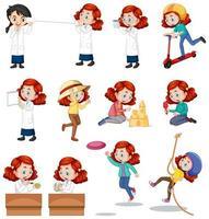 fille de cheveux roux faisant différentes activités définies vecteur