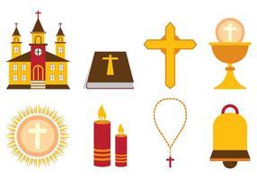 Ensemble d'icône vectorielle eucharistie vecteur