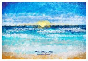 Paysage de la mer Aquarelle Vector Free