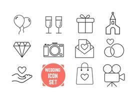 Icônes de mariage en ligne mince vecteur