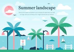 Rose Summer Vector Landscape