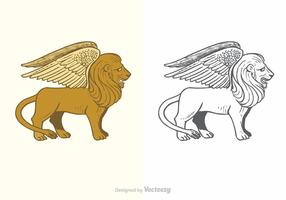 Vector Free Winged Lion Illustration