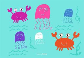 Mignons vecteurs de la créature de la mer vecteur