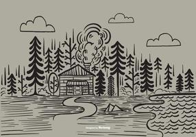 Vecteur de la cabane de la forêt dessiné à la main