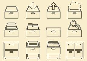 Icônes de ligne de cabinet vecteur