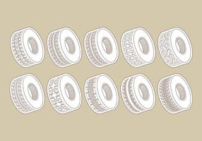 Icônes de pneu tracteur vecteur
