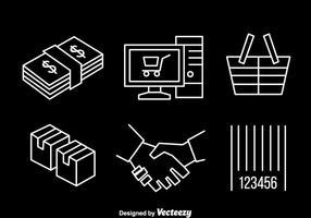 Icônes de ligne de magasinage en ligne