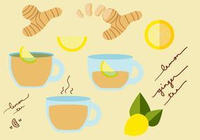 Ensemble de vecteur de thé au gingembre