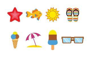 Vecteurs d'icônes de plage amusantes vecteur