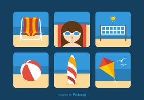 Icônes de vecteur de thème de plage gratuite