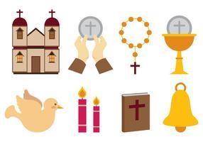 Ensemble d'icônes vectorielles eucharisques vecteur