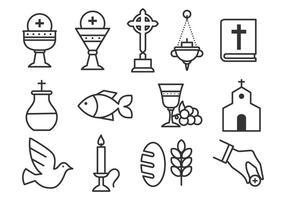 Ensemble d'icônes gratuit pour les sacrements vecteur
