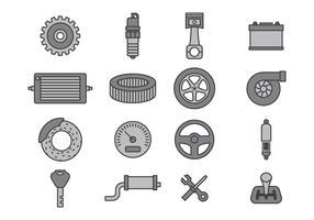 Ensembles d'icônes de mécanique de voiture vecteur