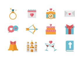 Vector d'icônes de mariage gratuit.