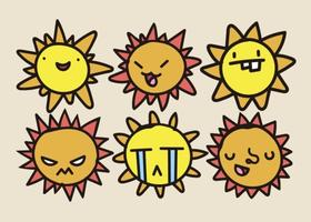Ensemble de vecteur Cartoon Suns