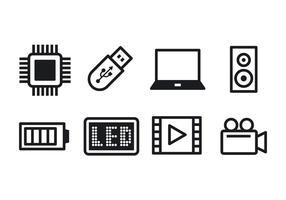 Ensemble d'icônes de technologie libre vecteur
