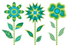 3 vecteurs de fleurs abstraites vertes vecteur