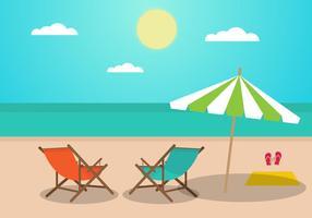 Paysage plat d'été avec chaises longues