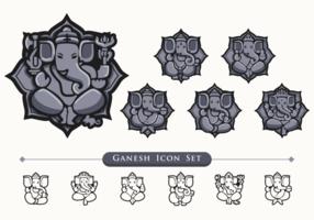Ensemble d'icônes Ganesh vecteur