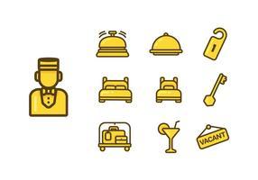 Ensemble vectoriel d'icônes de concierge