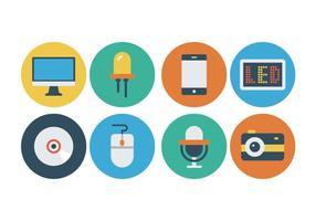Icônes gratuites de technologie plate vecteur