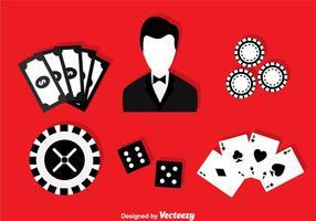 Icônes en noir et blanc de casino vecteur