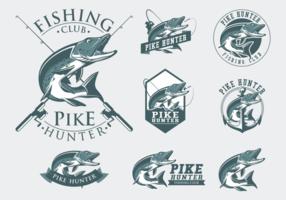 Vecteur de badge de pêche de brochet