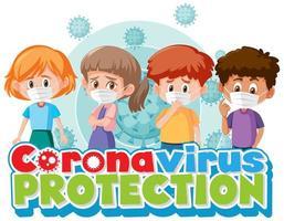 enfants de dessin animé avec thème de protection contre les coronavirus