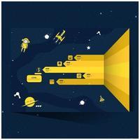 infographie d'exploration spatiale jaune et marine