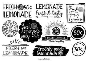 Étiquettes à limonade de style dessiné à la main
