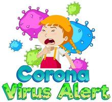 alerte au coronavirus avec une fille malade vecteur