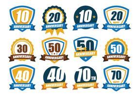 Pack de badge gratuit pour anniversaire vecteur