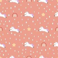motif de licorne sans couture avec étoiles et arc-en-ciel vecteur