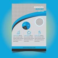 modèle de flyer de rapport annuel détail bleu incurvé