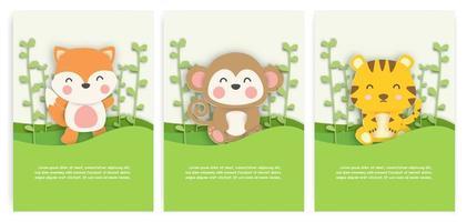 jeu de cartes d'animaux style papier découpé vecteur