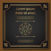 cadre doré fleuri avec mandala et bordures