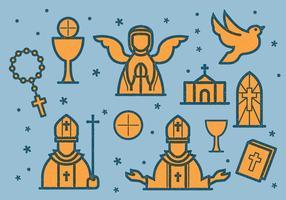 Icône vintage eucharistie vecteur
