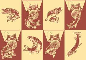 Pike fshing poster set