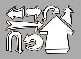 Ensemble de flèches 3D dessiné à main vectorielle