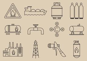 Icônes d'énergie au gaz