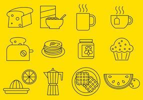 Icônes de ligne de petit-déjeuner vecteur
