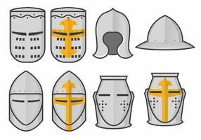 Ensemble de modèles de casque Templar Knight Helmet vecteur