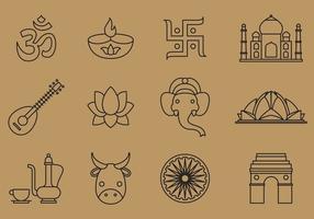 Icônes de ligne de l'Inde vecteur
