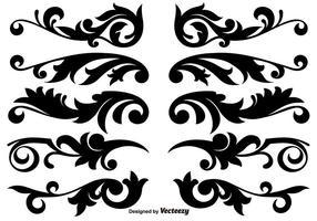 Conception de travaux de défilement, éléments décoratifs décoratifs vectoriels