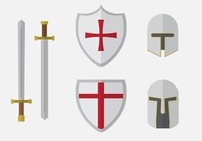Ensemble des éléments du chevalier templier vecteur